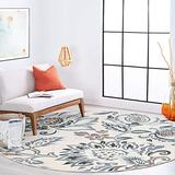 Stella Cream 8 Foot Round Area Rug for Living, Bedroom, or Dining Room - Traditional, Floral