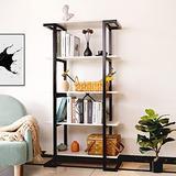 LELELINKY White Bookshelf, 5-Tier Wood Bookcase with Metal Frame, Free Standing Modern Industrial Storage Bookshelves, Vintage Decorative Display Shelf for Living Room, Bedroom, Home, Office
