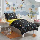 4 Pieces Toddler Bedding Set Black Space Style with Stars Planets - Includes Adorable Quilted Comforter, Fitted Sheet, Top Sheet, and Pillow Case for Boys Bed