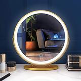 Vlsrka Makeup Mirror Vanity Mirror with Lights, 3 Color Lighting Modes, Touch Control Desk Mirror, 360° Rotatable, High-Definition Large Round Lighted Up Cosmetic Mirror for Bedroom Table (Gold)