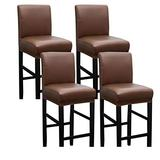 ZHFEL Waterproof Bar Chair Covers,Counter Height Bar Stool Covers Removable Washable Anti-Dust Pub Chair Slipcover for Dining Room Kitchen Barstool Cafe-4 Pcs-Brown
