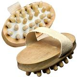 JIAHAO 2PCS Natural Wood Wooden Hand-Held Massager Body Brush Cellulite Reduction(L)