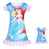 Matching Girls & Dolls Dress Mermaid Baby Toddler Summer Princess Cartoon Casual Short Sleeve