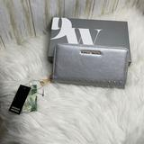 Nine West Bags | Metallic Grey Sguare Studs Long Wallet Whit Logo | Color: Gray | Size: Os
