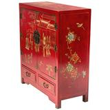 Oriental Furniture Solid Wood 2 - Door Accent Cabinet Wood in Brown/Red, Size 37.0 H x 33.0 W x 14.0 D in | Wayfair L3-F10