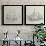 Breakwater Bay Antique Ship Sketch IX Antique Ship Sketch IX - 2 Piece Picture Frame Drawing Print Set Canvas & Fabric/Metal in Brown/Gray/Green
