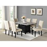 Best Quality Furniture 7 - Piece Dining Set Wood/Upholstered Chairs in Black/Brown/White, Size 30.0 H x 42.0 W x 60.0 D in | Wayfair D107D7
