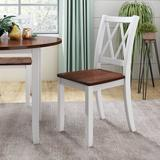 Gracie Oaks Dining Table Set Round Wood Drop Leaf 5 Piece Dining Set w/ 4 Cross Back Chairs, White+ CherryWood in Brown/White, Size 30.0 H in