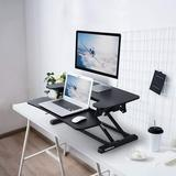 Inbox Zero Standing Desk Converter 28 Inches Stand Up Desk Riser, Height Adjustable Home Office Desk w/ Deep Keyboard Tray For Laptop in Black