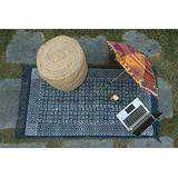 Hand Woven Indian Cotton Home Decor Kilim Dhurrie, Block Printed Runner, Floor Area Rug, Dari Rug, Living Room Rug Rag, Navy Blue Area Rug (2 x 3 Feet)
