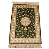 Yilong Hand Knotted Antique Rug Persian Silk Carpet Green Tapestry Small Pure Tree of Life Handmade Oriental Area Rug Hand Knotted Rugs for Bedroom Entrance Doormat Dinning Room Carpet, 2ft x 3ft