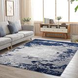 CAROMIO Modern Abstract Area Rug, Non-Shedding Floorcover Indoor Area Rug Soft Low-Pile Rug Home Decor Rug for Living Room Bedroom Entryway Decoration Children's Room Play mat (Navy Grey, 6' x 9'