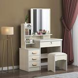 Large Vanity Table Set,Vanity Table Set Makeup Vanity Dressing Table with Mirror, 4 Drawers 3 Shelves, Bedroom Dresser Desk with Cushioned Stool Girls Women,Gift for Women, White