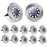 Solar Ground Lights, 12Pack 10 LED Solar Lights Outdoor Solar Pathway Lights, Waterproof In-Ground Solar Garden Lights LED Landscape Lighting for Pathway Walkway Patio Yard Lawn Driveway, Disk Lights