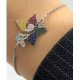 Sevil 925 Women's Bracelets 3.1 - Blue & Sterling Silver Butterfly Star Adjustable Bracelet With Swarovski Crystals