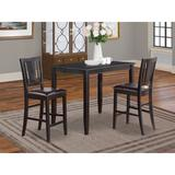 Red Barrel Studio® Lightner Counter Height Rubberwood Solid Wood Dining Set Wood/Upholstered Chairs in Black, Size 36.0 H x 30.0 W x 48.0 D in