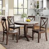August Grove® 5 Pieces Dining Table & Chairs Set For 4 Persons, Kitchen Room Solid Wood Table w/ 4 Chairs Wood in Brown, Size 29.9 H x 41.7 D in