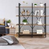 17 Stories Double Wide 4-Tier Bookcase Storage Organizer,Etagere For Home & Office, Vintage in Brown, Size 64.17 H x 60.0 W x 13.0 D in | Wayfair