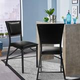 Red Barrel Studio® Inshirah Steel Folding Side Chair in Black Faux Leather/Upholstered in Black/Gray/Green, Size 33.5 H x 16.0 W x 18.0 D in Wayfair