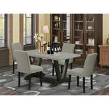 Winston Porter Ain 5-Pc Dinette Set - 4 Kitchen Chairs & 1 Modern Rectangular Wire Brushed Black Kitchen Table w/ High Chair Back in Gray/Brown