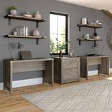 Gracie Oaks Alefiyah Home By Bush Furniture Cottage Grove 2 Person Farmhouse Desk Set w/ Lateral File Cabinet In Restored Wood in Gray   Wayfair