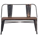 Williston Forge Rustic Vintage Style Distressed Dining Table Bench w/ Backrest in Brown/Gray, Size 32.5 H x 41.7 W x 16.4 D in | Wayfair