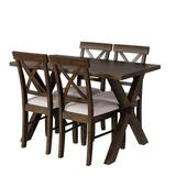 Gracie Oaks 5 Pieces Farmhouse Rustic Wood Kitchen Dining Table Set w/ Upholstered 4 X-Back Chairs Wood/Upholstered Chairs in Brown | Wayfair