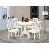 Rosalind Wheeler Fresnel 5 - Piece Rubberwood Solid Wood Dining Set Wood in White, Size 30.0 H in | Wayfair 43D105A38C9748D39161B1E9C126834E