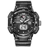 Men's Digital Sports Watch, Military Sports Electronic 50m Waterproof Calendar Date Casual Multi-Function Tactics Watches, LED Stopwatch Digital Analog Dual Time Outdoor Army Wristwatch (Black)