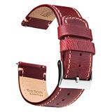 Ritche 20mm Leather Watch Band Quick Release Watch Bands for Men Women Compatible with Timex Weekender 40mm / Citizen BN0150-28E - Maroon Leather Watch Strap Kahki Stitching
