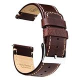 Ritche 20mm Leather Watch Band Quick Release Watch Bands for Men Women Compatible with TTimex Easy Reader 38mm / Seiko SARB017 - Dark Coffee Leather Watch Strap Kahki Stitching