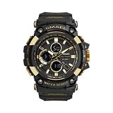Military Watch Digital, Multifunctional Waterproof Sport Digital Watch for Men Dual Time LED Digital Watches Big Dial Clock Wrist Watches for Femle Male 1802B (Gold)