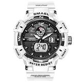 Men's Digital Sports Watch, Military Sports Electronic 50m Waterproof Calendar Date Casual Multi-Function Tactics Watches, LED Stopwatch Digital Analog Dual Time Outdoor Army Wristwatch (White)