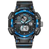 Men's Digital Sports Watch, Military Sports Electronic 50m Waterproof Calendar Date Casual Multi-Function Tactics Watches, LED Stopwatch Digital Analog Dual Time Outdoor Army Wristwatch (Blue)