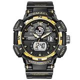 Men's Digital Sports Watch, Military Sports Electronic 50m Waterproof Calendar Date Casual Multi-Function Tactics Watches, LED Stopwatch Digital Analog Dual Time Outdoor Army Wristwatch (Gold)