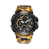 Mens Watches Digital, Multifunctional Camouflage Waterproof Sport Watches Men LED Digital Watches Big Dial Clock Wrist Watches for Male 1708 (Yellow)