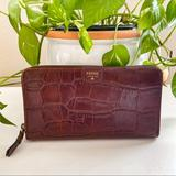 Kate Spade Bags   Fossil Crocodile Burgundy Leather Clutch Wallet   Color: Brown/Gold   Size: Os