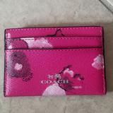 Coach Accessories | Coach Hot Pink Floral Credit Card Case Wallet | Color: Pink | Size: Os