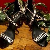 Nine West Shoes | Last Call Nine West Strappy High Heel Sandals | Color: Black/White | Size: 10.5