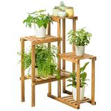 TEAYASON Wooden Multi-Layer Flower Stand Indoor Balcony Flower Stand Wall Shelf Multi-Purpose Rack Three-Dimensional Flower Stand Personality