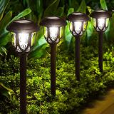 Solar Lights Outdoor Decorative, 10 Pack Solar Pathway Lights Waterproof LED Solar Garden Lights Solar Powered Outdoor Landscape Lighting for Yard Patio Walkway Pathway, Cold White
