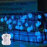 Mini Globe String Lights Battery Operated, 8 Modes 50 LED Waterproof Fairy Lights for Bedroom Tapestry Indoor and Outdoor Christmas Tree Party Decoration (Blue-50LED)