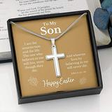 Easter Cross Necklace For Son, Religious Jewelry, Jewelry for Son, Childrens Cross Necklace, Mens Necklace, Cross Pendant, gift for mom, necklace gifts, mothers, card gift, necklace for women, m R77