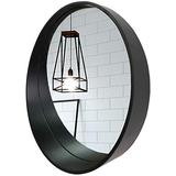 ZYLZL Mirror Bathroom Wall Mounted Makeup Mirror Mirrors Contemporary Wood Wall Mirror with Shelf for Living Room Unique Wall Décor Make-Up Vanity Mirror,A,Diameter 50cm