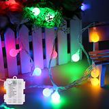 Mini Globe String Lights Battery Operated, 8 Modes 50 LED Waterproof Fairy Lights for Bedroom Tapestry Indoor and Outdoor Christmas Tree Party Decoration (Multicolor-50LED)