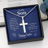 Easter Cross Necklace For Son, Religious Jewelry, Jewelry for Son, Childrens Cross Necklace, Mens Necklace, Cross Pendant, gift for mom, necklace gifts, mothers, card gift, necklace for women, m R74