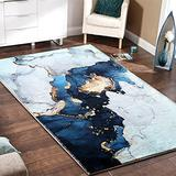 RoomTalks Modern Blue and Gold Area Rug 3x5 Faux Wool Non-Slip Rubber Backed Abstract Art Marble Throw Rugs for Bedroom Entryway Floor Carpet Soft Plush Small Kitchen Rug Washable (Blue, 3x5)