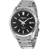 Black Dial Stainless Steel Watch - Metallic - Seiko Watches