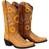 Furcross Women's Sunflower Printed Boots Chunky Heels Cowgirl Round Roe Short Boots Embroidered Boots for Women Yellow