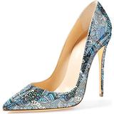 Jimishow Women Pumps Stiletto High Heels 4.7 inches/12CM Pointed Toe Sexy Dress Shoes Print Design Slip On Pumps for Women US Size 7.5 Teal Blue Flower Pattern